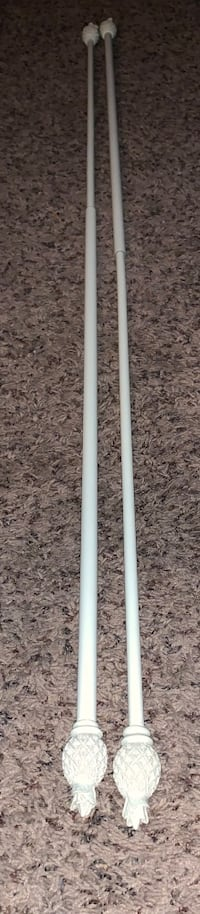 Set of Metal Cream Colored Curtain Rods w/ Pineapple Ends