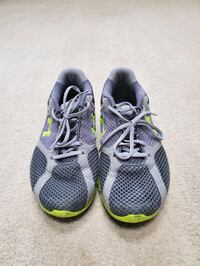 Under Armour gray-and-green running shoes