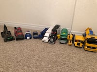 Various toy trucks/cars