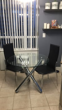black and gray metal frame glass top table Mississauga, L4Z