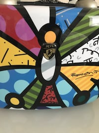 Makeup bag by famous artist Romero Britto - butterfly.  Hard case NEW