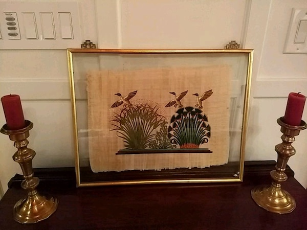 Egyptian papyrus painting, hand painted with frame c7d5ddc4-d3f3-4421-9dba-bb3dfd0a3264