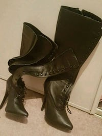 pair of black leather heeled boots Calgary, T3E 6T5