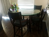 Pub table with 4 chairs and glass top Riverside, 92508