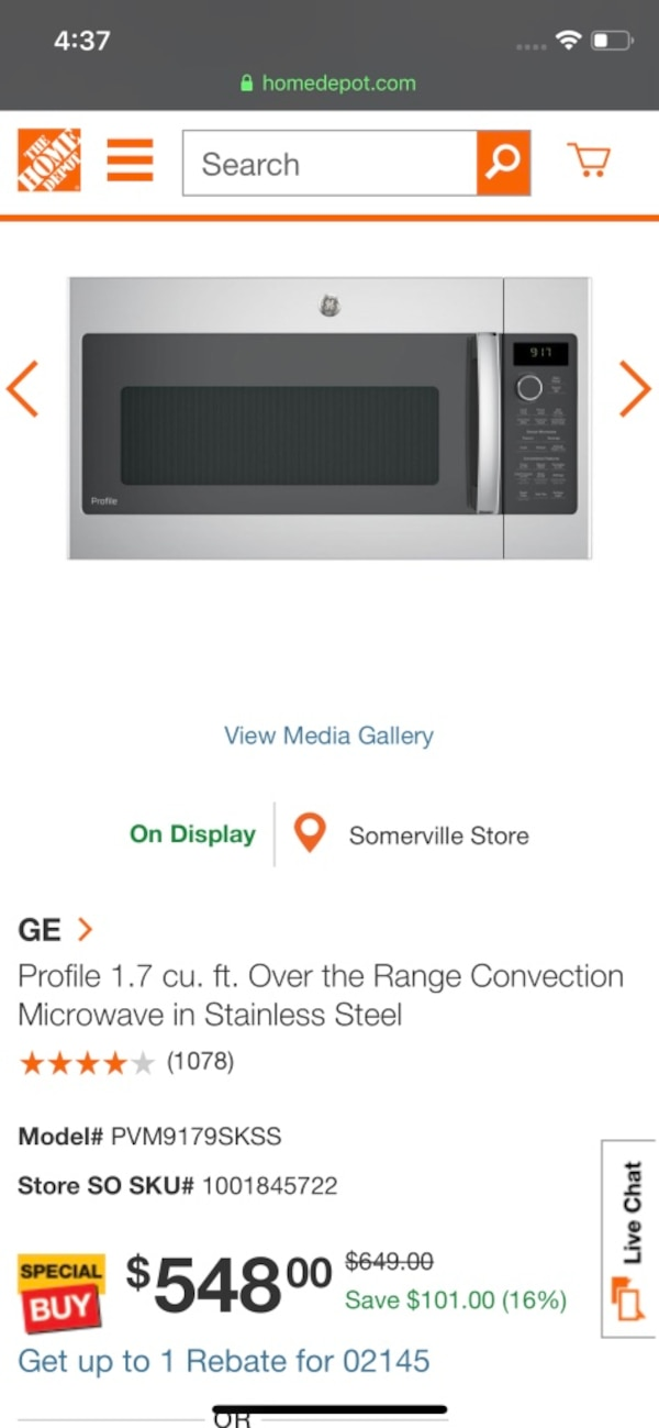 Sold Ge Profile 1 7 Cu Ft Over The