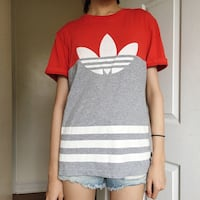 Adidas red and grey stripe logo tee Toronto, M3A 1W8