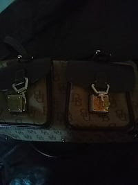 two brown monogrammed Dooney and Bourke leather bags