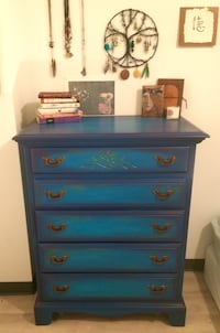 Blue wooden 5-drawer tallboy dresser Washington, 20009