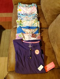 Scrub Tops 6 used 1 New With Tags