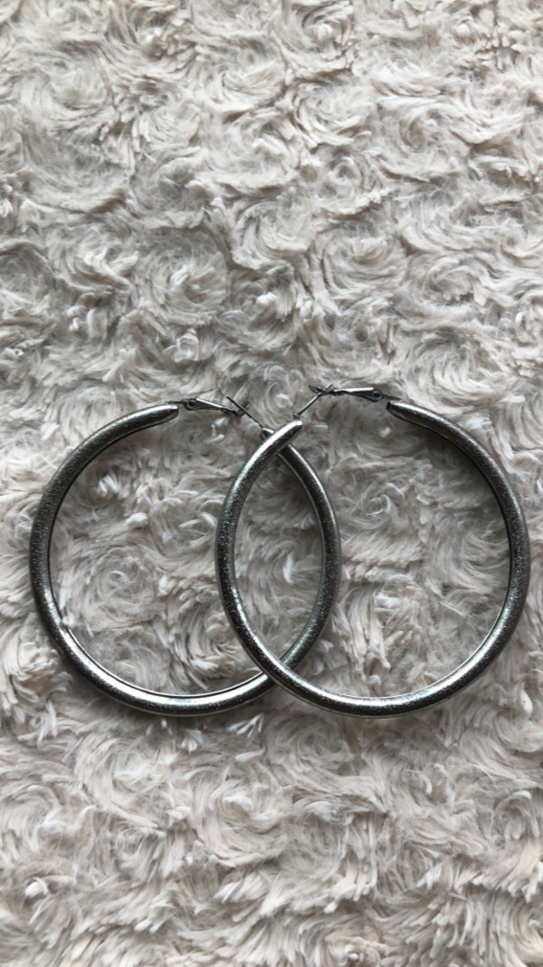 Sparkly  Silver Hoops