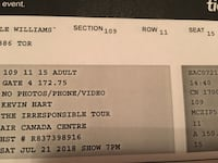 2 Kevin Hart tickets for sale July 21st 7pm section 109 great seats   Whitby, L1R 1W2
