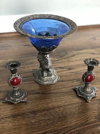 two blue and brown glass candle holders Ashburn, 20148
