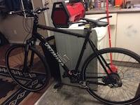 black and red Specialized hardtail bike