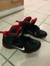 Nike LeBron 9 Men's Size 10.5 Black White Sport Red Miami Heat Vienna, 22181