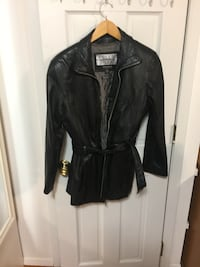 Black leather full-zip jacket