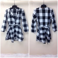Black and white checked trench coat photo collage