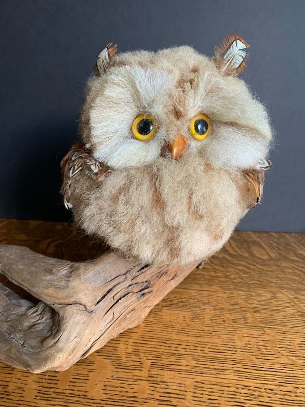 Vintage Faux Owl Perched on Driftwood Mid-Century Kitschy Home Decor 2a69b31d-e35b-4adf-9caa-6361710d441d