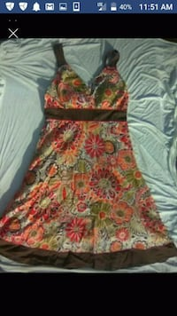 red and green floral sleeveless dress Red Bluff, 96080