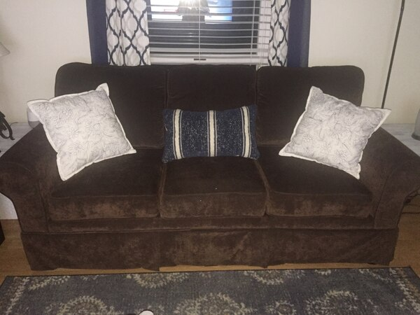 Beautiful three person brown suede sofa!!!