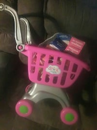 pink and grey shopping cart toy