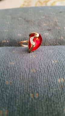 Ruby embellished silver-colored ring