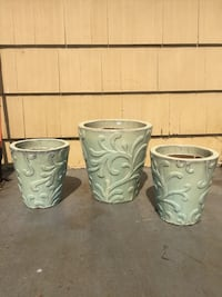 Gardening pots (3) sea foam green concrete heavy duty Kansas City, 64134