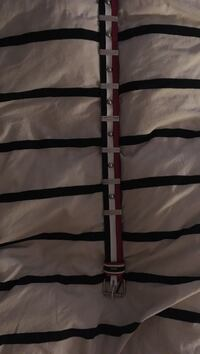 red white and black leather belt 7/10 cond