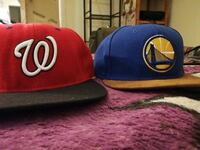 two Golden State Warriors and Washington Nationals fitted caps