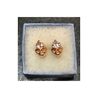 Rose Gold & CZ Skull Earrings Farmers Branch, 75244