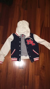 black and white button-up pull-over hoodie