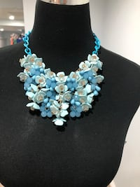 Cascading beads and blossoms statement necklace