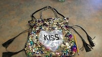 multicolored sequined tote bag