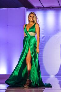 Emerald green pageant evening gown