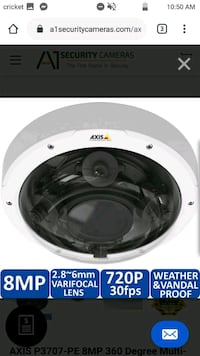 AXIS P3707- PE 8MP 360 DEGREE MULTI SENSOR DOME IP SECURITY CAMERA