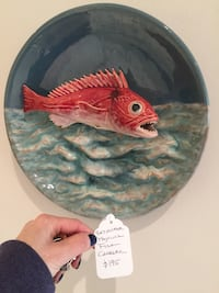 Awesome Portuguese Majolica 3 dimensional  Piranha wall art/charger-- very cool! West Bloomfield, 48322
