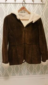 brown leather zip-up jacket St. Cloud