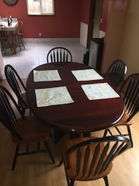 Antique Cherry Oak Dining Table Set for 6