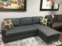 Brand New Grey Linen Sectional Sofa Couch w/Pillow Silver Spring