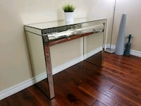 rectangular clear glass top table with white wooden base Ajax, L1Z 1J4