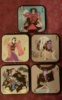 VINTAGE JAPANESE SAMURAI ART PLAQUES New York Mills