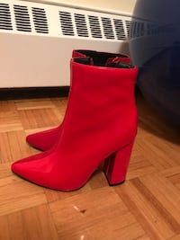 Pair of red leather heeled booties Mississauga, L4X 1V7