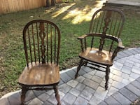 6 Hardwood Chairs in great condition.  Two with arms 4 without. $50 for all 6 chairs. Price for immediate sale. Port Orange Fl. PORTORANGE