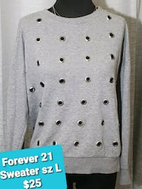 Cant go out? We deliver! Forever21 Sweatshirt/Metal Hole Punch Detail.