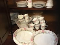 Beautiful Dish Set, Service for 12, includes-dinner plates, soup dishes, cups, cake plates, 2 platters, Picture 75.00, dish set 75.00 275 mi
