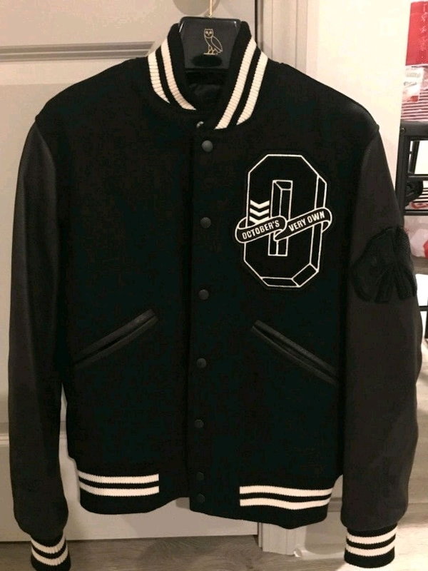 used roots x ovo leather varsity jacket cream black for sale in
