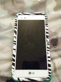 white LG Android smartphone with black and white zebra stripe case Columbus, 31904