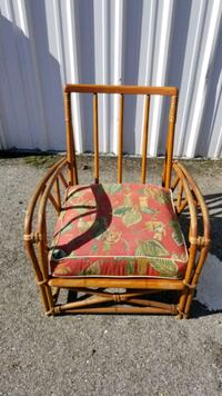 Vintage lounge chair, rattan, wicker, bamboo with seat cushion
