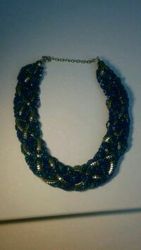 Turquoise, Navy, and Silver Necklace 527 mi