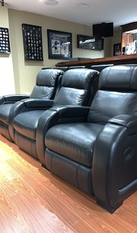 3 Black leather reclining theatre chairs Markham, L6E 1Y3