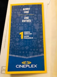 (Pending pick up) Single Admission Cineplex Gift Certificate Ticket